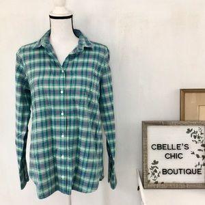 J. Crew 'Boy' Green Plaid Button Down Shirt Sz 6